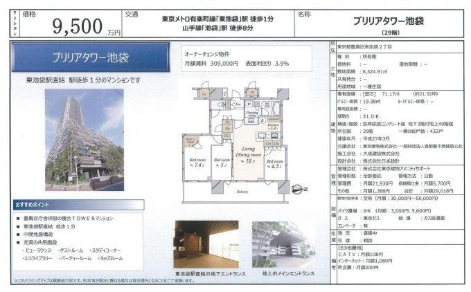 ブリリアタワー池袋29階9,500万円